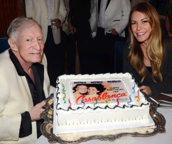 "One of his last public outings was for his birthday in April. Here, Hef and third wife **Crystal Hefner** pose with his cake. ""Thank you for all the birthday wishes,"" he said at the time."