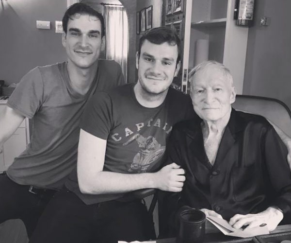 This is one of the last known photos of Hef and his sons Marston and Cooper.