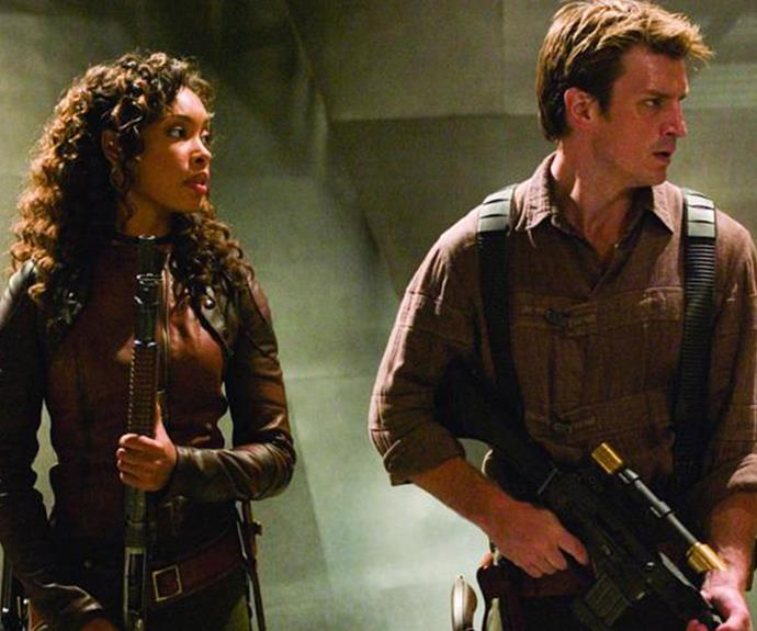 Gina Torres and Nathan Fillion in *Firefly*.