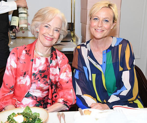 Dame Quentin Bryce and actress Marta Dusseldorp enjoy their meals.