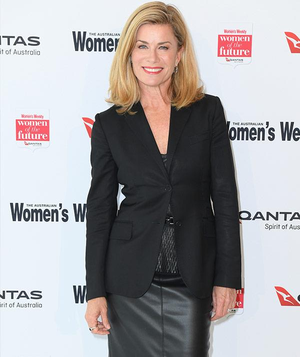Deborah Hutton can do no wrong in this chic blazer and leather skirt ensemble.