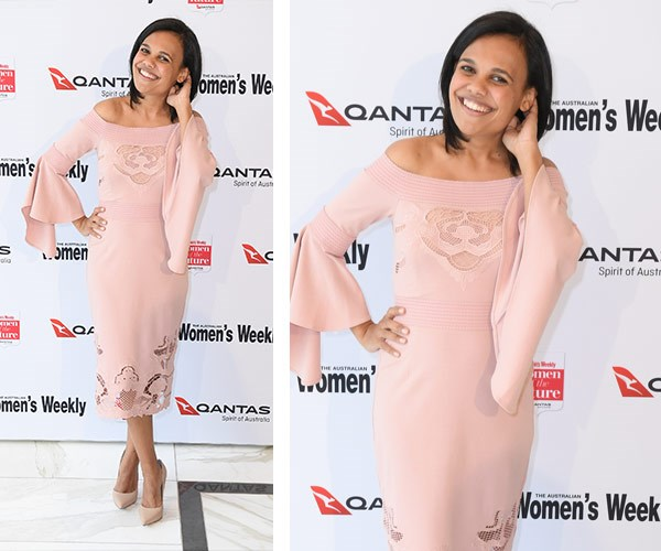 Love Child star Miranda Tapsell cuts a stylish figure in this pretty pink off-the-shoulder gown.