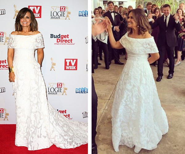 Then and now: Lisa first wore the incredible Pallas Couture gown to the 2015 Logies and it inspired the couple's idea to re-marry.