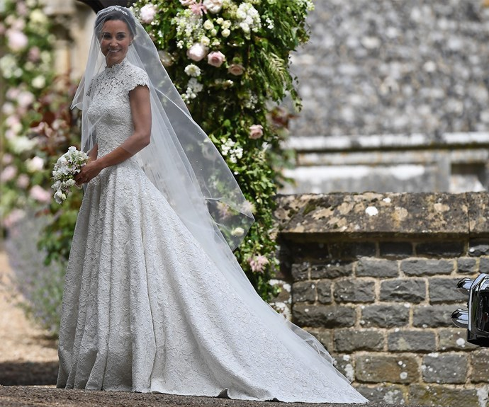 One of fashion's worst kept secrets - Giles Deacon was the visionary behind Pippa's stunning gown.