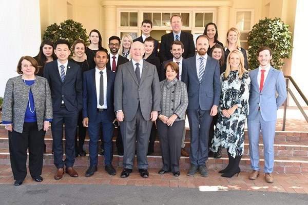 The Australian delegates outside the Governor-General's residence.