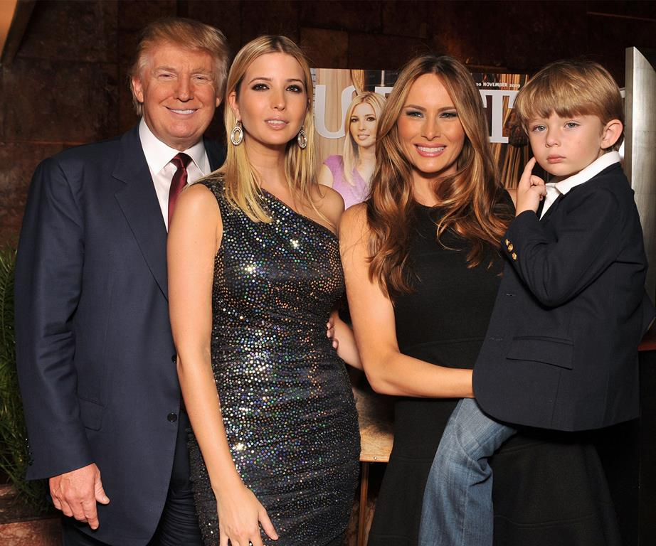 Donald with daughter Ivanka third wife Melania and son Barron