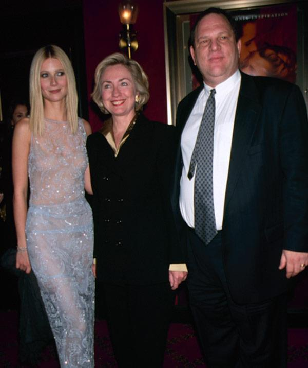 Gwyenth with Hillary Clinton and Harvey back in 1998.