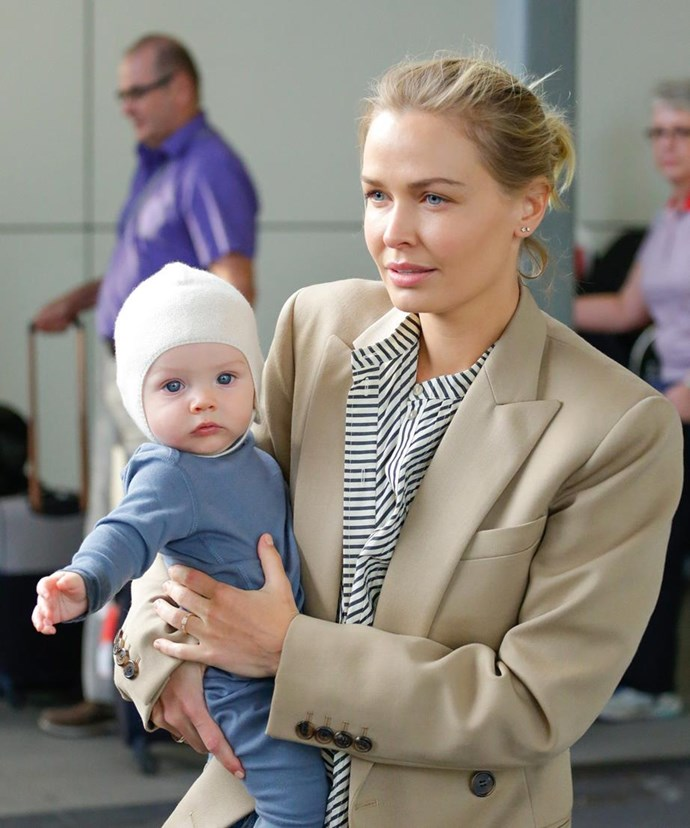 Earlier this year, Lara touched down in Sydney and made her way through the airport with her blue-eyed boy, Racer. It was the first time the 30-year-old, mum-of-two had stepped out publicly with her youngest child.