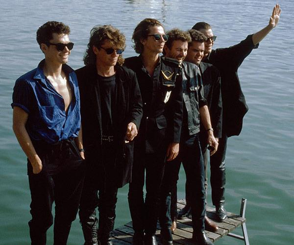 **INXS** hit the world music stage in 1988 with their breakthrough album Kick, which sold nine million copies and gave them the hit singles *Never Tear Us Apart*, *Need You Tonight* and *New Sensation*.