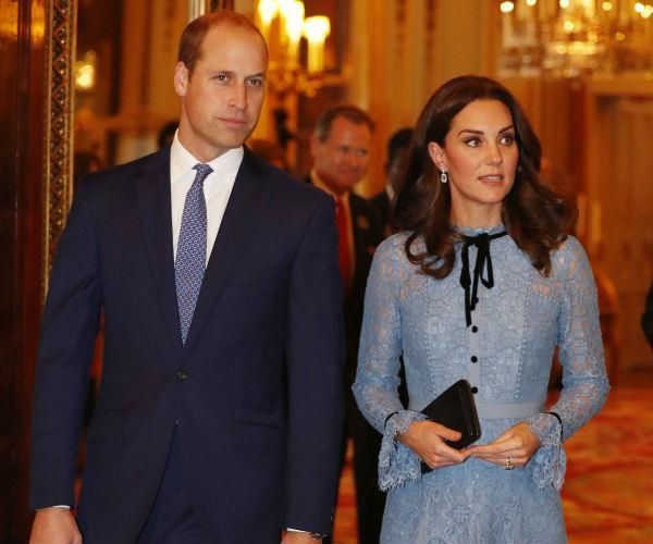 The royal dazzled in a powder blue lace dress by London-based brand Temperley.