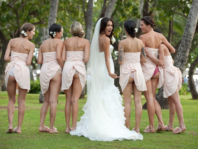 The 'cheeky' bridesmaid is the trend that we were over as soon as it begun.   Is this really how you want to remember your big day? We get it, you're hilarious.