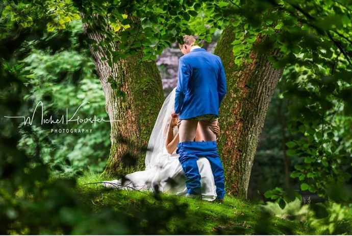 The infamous *blow job wedding picture* went viral with shocking speed. It's the latest in a long list of tacky wedding photo trends from 2017.