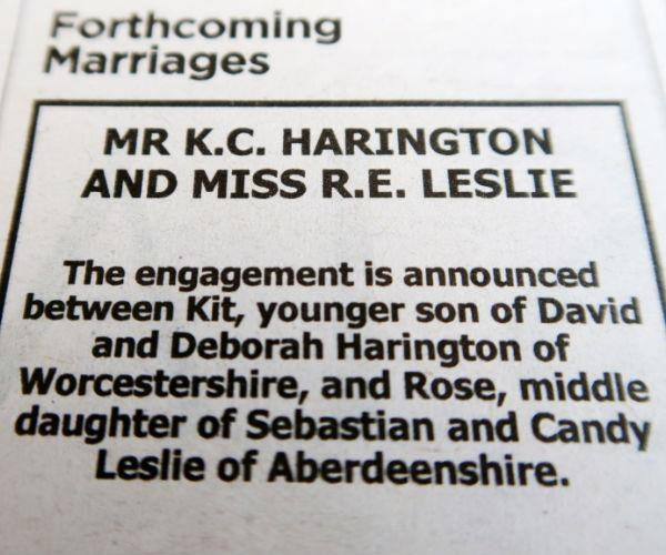 The couple announced their engagement in the paper.