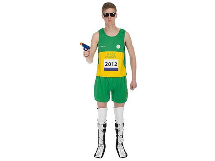 """This Oscar Pistorius Halloween costume could be the worst so far.  The slogan on the t-shirt reads, """"Blade Gunner.""""  The Amazon website selling the outfit says: """"This Paralympic runner costume is sure to cause some controversy at your next event.""""  It's offensive to those affected by domestic violence and really not funny at all."""