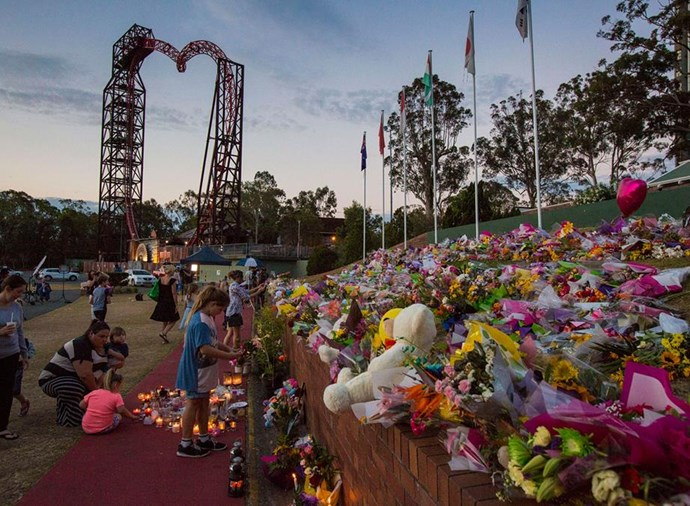Floral tributes at Dreamworld in 2016. SOURCE: Getty