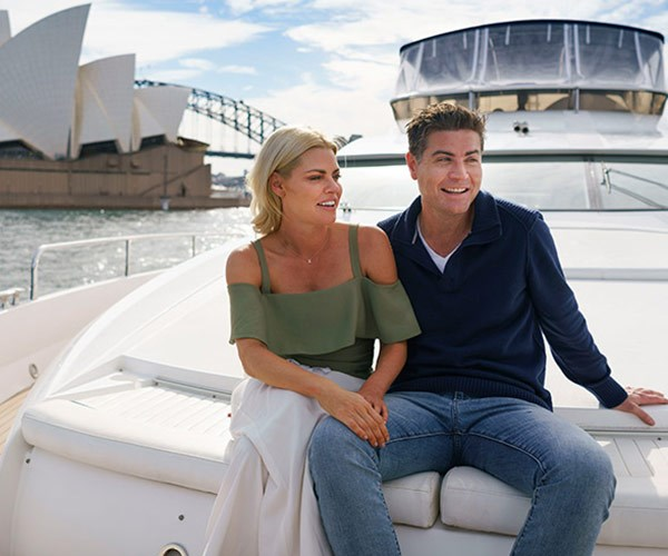 The couple take in Sydney Harbour on Stu's very own boat. It was a full circle moment for the pair as this was the same vessel he invited Sophie on a year ago - but she bailed because she was too hungover.