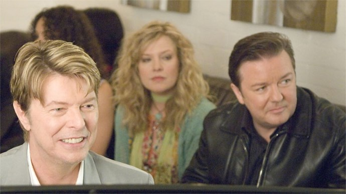 "**David Bowie –** ***Extras*** **Ricky Gervais**'s follow-up to *The Office* is littered with cameos as Gervais's vain actor slumming it as an extra meets the likes of **Sir Patrick Stewart**, **Daniel Radcliffe**, **Ben Stiller**, Coldplay's **Chris Martin** and **Kate Winslet**. The highlight, however, was a chance meeting with the legendary **David Bowie** in a bar. Before you can say ""Ziggy Stardust"", Gervais is being serenaded, and ridiculed, by his musical hero to the strains of a new Bowie/Gervais composition, ""Little Fat Man."""
