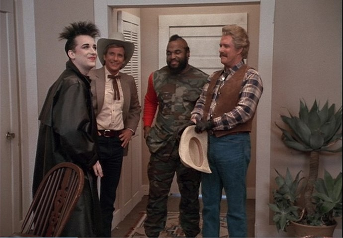 "**Boy George –** ***The A-Team*** In one of the strangest cameos ever seen in TV land, Culture Club lead singer Boy George joined soldiers of fortune Hannibal (George Peppard), Murdock (Dwight Schultz), Face (Dirk Benedict), and B.A. Baracus (Mr. T) in a special episode of 80s action show *The A-Team*.  George got to kick down a door and drive the team's iconic 1983 GMC van while Mr. T strutted his inimitable stuff as the band played ""Karma Chameleon"". Remember, if you have a problem, if no one else can help, and if you can find them.... maybe you can hire The A-Team. Or Boy George."