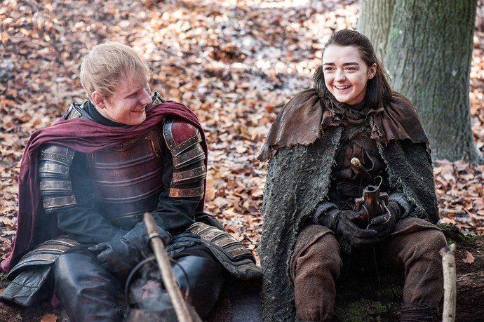 **Ed Sheeran –** ***Game Of Thrones*** Who better for Ayra Stark (**Maisie Williams**) to share some homemade blackberry wine and fire-roasted rabbit with than acoustic troubadour **Ed Sheeran**? The British singer's brief moment in George R.R. Martin's blood and thunder fantasy was not greeted fondly, with many feeling that Sheeran's appearance took the audience out of the ensuing drama.  In a cameo footnote, Coldplay drummer Will Champion also made a guest appearance on the show. As a drummer.