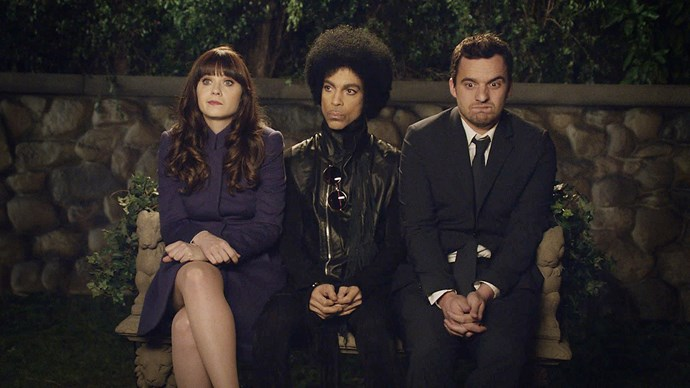 **Prince -** ***New Girl*** The diminutive popstar was a huge fan of *New Girl*, which is why he contacted the show and offered himself up as a co-star. The Purple One is throwing a party and Jess (**Zooey Deschanel**) and Nick (**Jake Johnson**) want in. When the pair does eventually meet prince, their freak-out is an absolute delight.