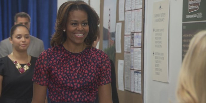 "**Michele Obama –** ***Parks And Recreation*** When perennial do-gooder small-town government worker Leslie Knope (*Saturday Night Live* alumni **Amy Poehler**) bumps into Mrs. Obama, the then First Lady encourages her to take a new job with the National Parks Service in Chicago. Knope's response includes the world's most awkward high-five, delirious shouting and bewildered commentary: ""I agree with you on all things, throughout history until the end of time. Forever."""