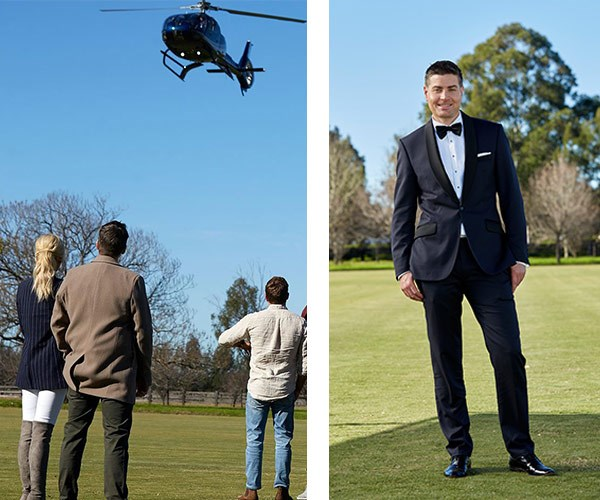 You really can't argue with a helicopter, a tux and champagne. Well played, Stu. Well played! **Relive their reunion in the player below. Post continues!**