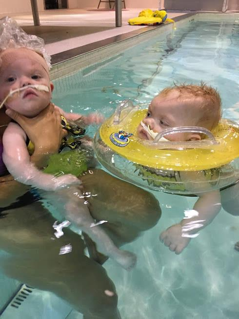 The two girls are coming leaps and bounds thanks to their rehab therapy.