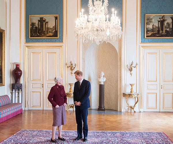 Prince Harry is on a two-day tour of Denmark, and Queen Margrethe was ready to greet the royal.