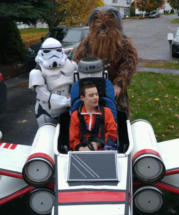 Last Halloween Tommy zipped around in an X-Wing fighter from *Star Wars*, while his mum was a Stormtrooper and his dad was Chewbacca.