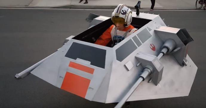 Jermey's dad recreated the battle of Hoth from the *Star Wars: Empire Strikes Back* film with this snowspeeder.