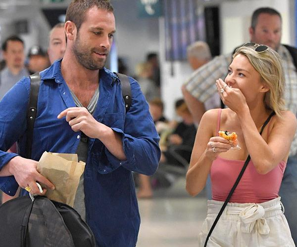 Sam Frost was spotted at Sydney airport boarding a flight to Perth with just her co-star Jake Ryan.