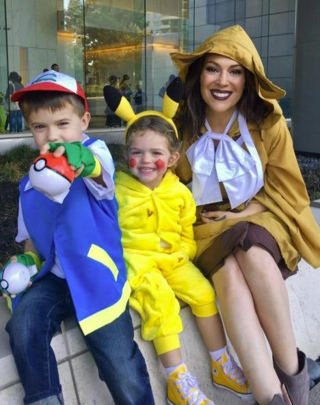 Alyssa Milano, Milo and Elizabella: The adorable trio dressed up as Pokémon characters.