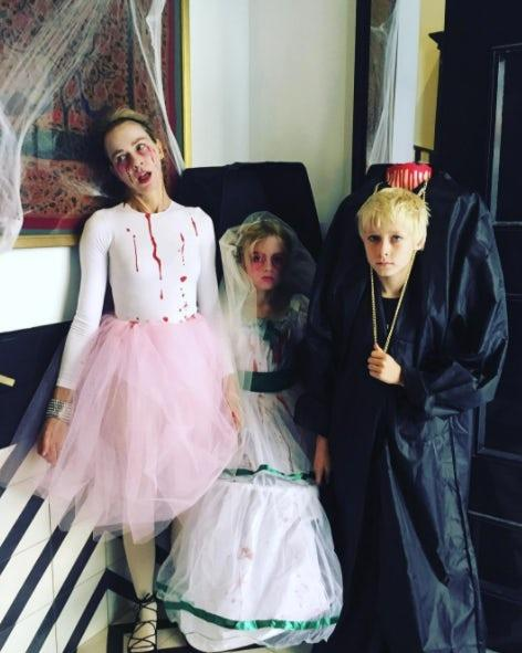 Naomi Watts, Samuel and Alexander: Naomi and her children went for ghoulish getups.