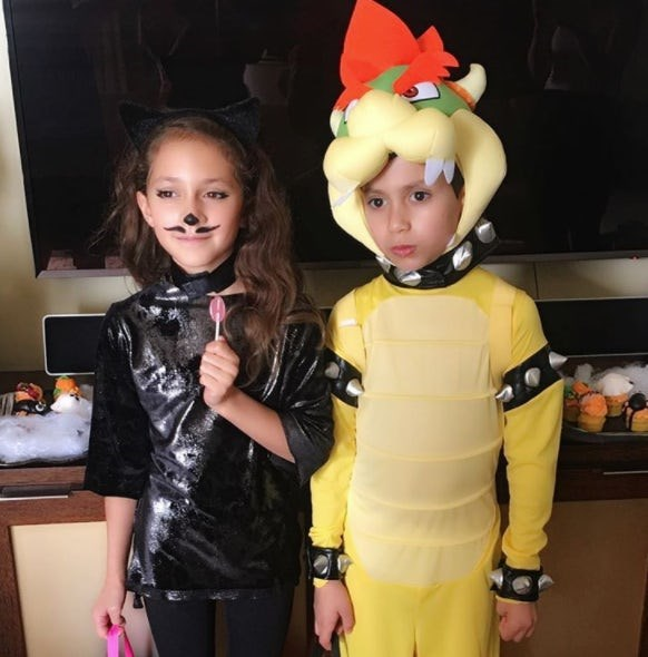 Max and Emme Muñiz: Jennifer Lopez's twins looked terrifyingly cute as a black cat and Bowser.