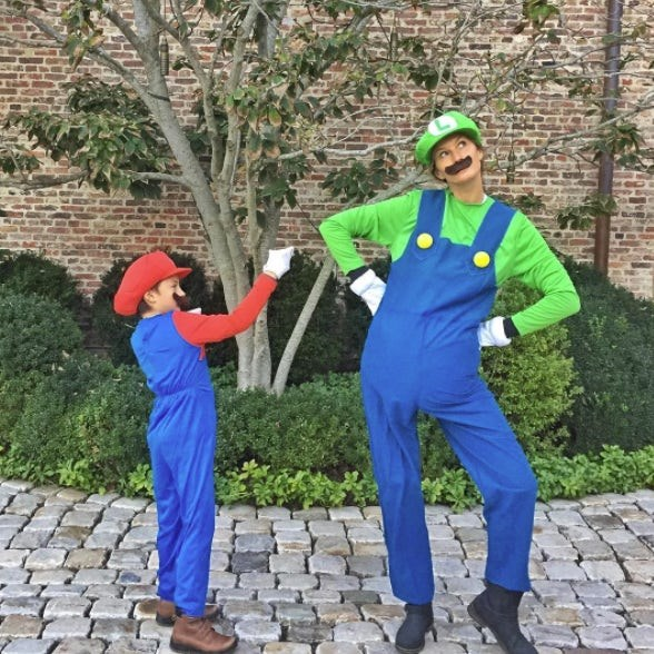 Gisele Bündchen and Benjamin Brady: The supermodel and her son pretended to be iconic video game brothers Mario and Luigi for a night.