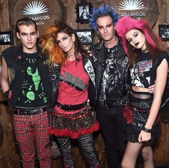 Cindy Crawford, Rande, Presley and Kaia Gerber: The genetically-blessed family looked fierce in their punk-rock garb.