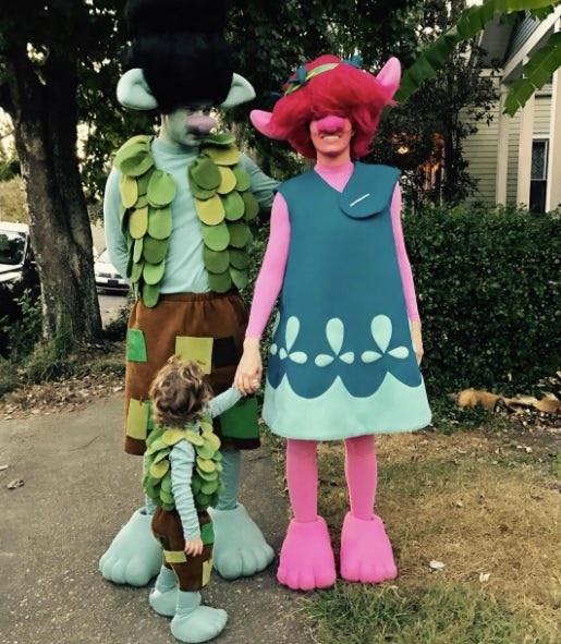"Justin Timberlake, Jessica Biel and Silas: The family-of-three went as trolls from the animated film Trolls. As fans are well aware, JT sang the movie soundtrack's hit song ""Can't Stop the Feeling!"""