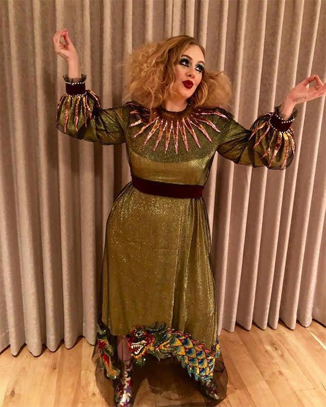 Adele as...  a glittery clown?