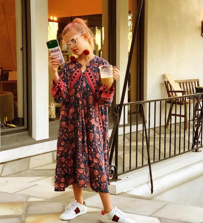 Birdie Silverstein the eldest daughter of Busy Philipps dressed as her mum, the reigning queen of Instagram stories.