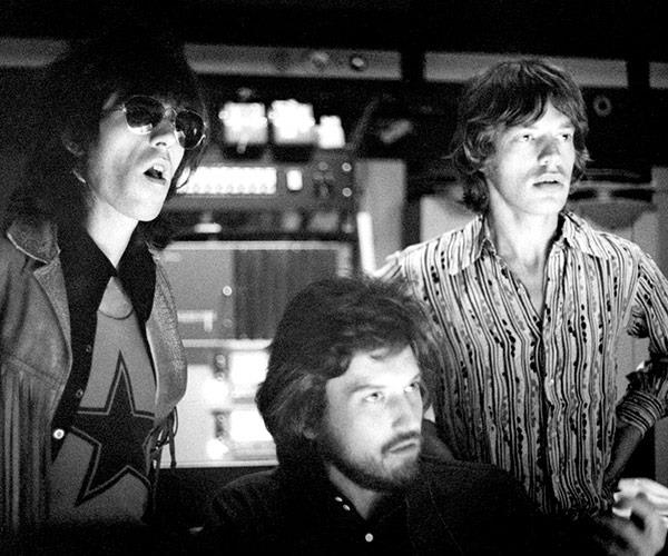 The Rolling Stones' Keith Richards and Mick Jagger with producer Jimmy Miller (middle).