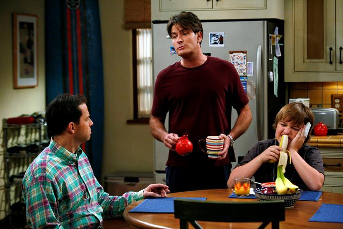 Charlie (middle) with co-stars Jon Cryer (left) and Angus T. Jones
