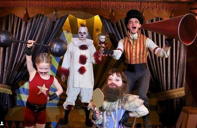 Neil Patrick Harris and family make a freaky show with a circus theme