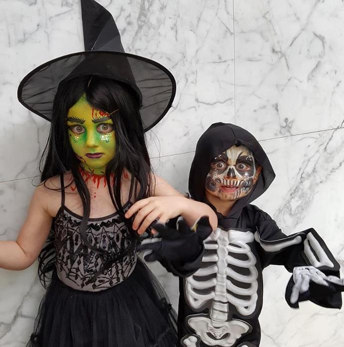 Roxy Jacenko's kids Pixie and Hunter Curtis looks great as a spooky witch and a scary skeleton.