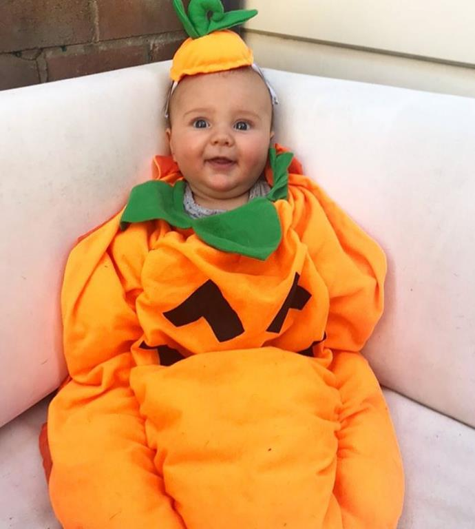 Nikki Phillips shared this adorable picture of Jett dressed as a pumpkin.