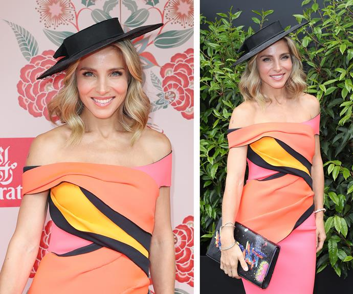 Elsa Pataky turned heads in a fluro frock, complimented perfectly by an edgy, brimmed hat for the 2016 party.