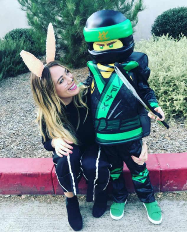 Hilary Duff is the ultimate (bunny-eared) Halloween wingwoman for her little boy, Luca, who's dressed up as a sword-wielding ninja!