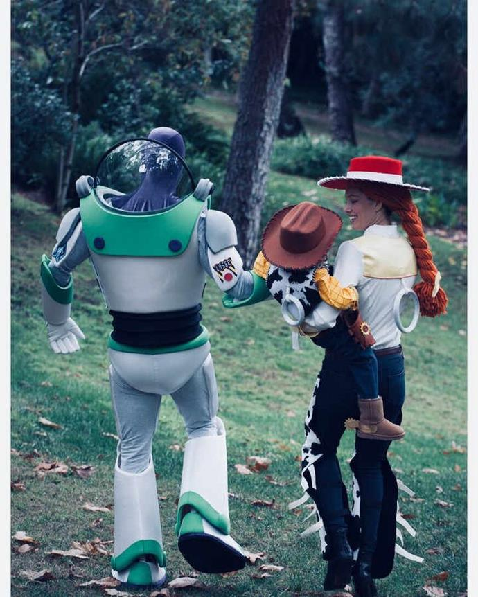 Talk about family dress-up goals! Justin Timberlake (AKA Buzz Lightyear), Jessica Biel, or as we can see now, Jessie, and their son, Silus, dressed as Woody, is our kind of *Toy Story*!