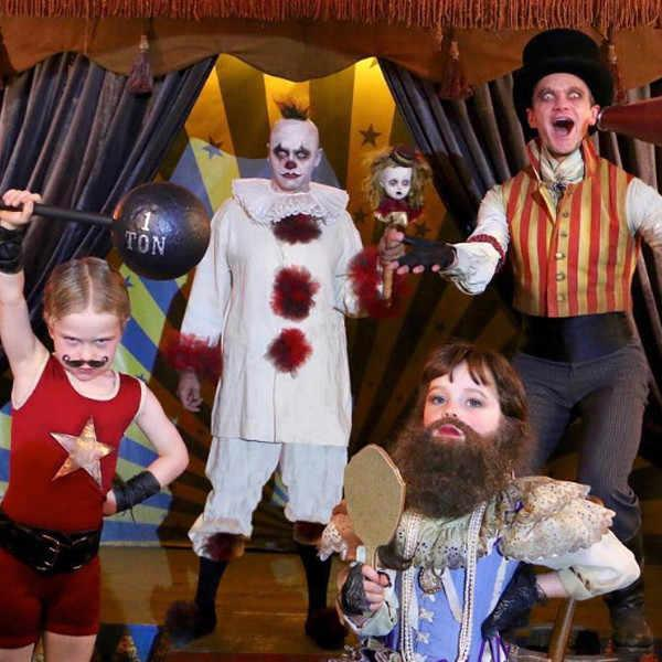 Neil Patrick Harris, his partner, David Burtka, and their twins, Harper and Gideon, have re-envisioned *American Horror Story*'s *Freak Show* - and simultaneously giving us nightmares...