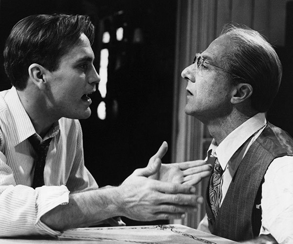 John Malkovich (L) and Dustin Hoffman (R) in the 1985 production of *Death of a Salesman*.
