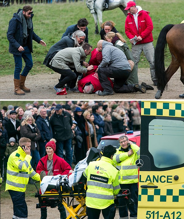 One gentlemen fell off his horse and was taken away by paramedics.